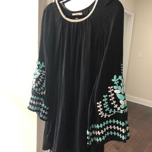 Flared, Embroidered Sleeve Dress